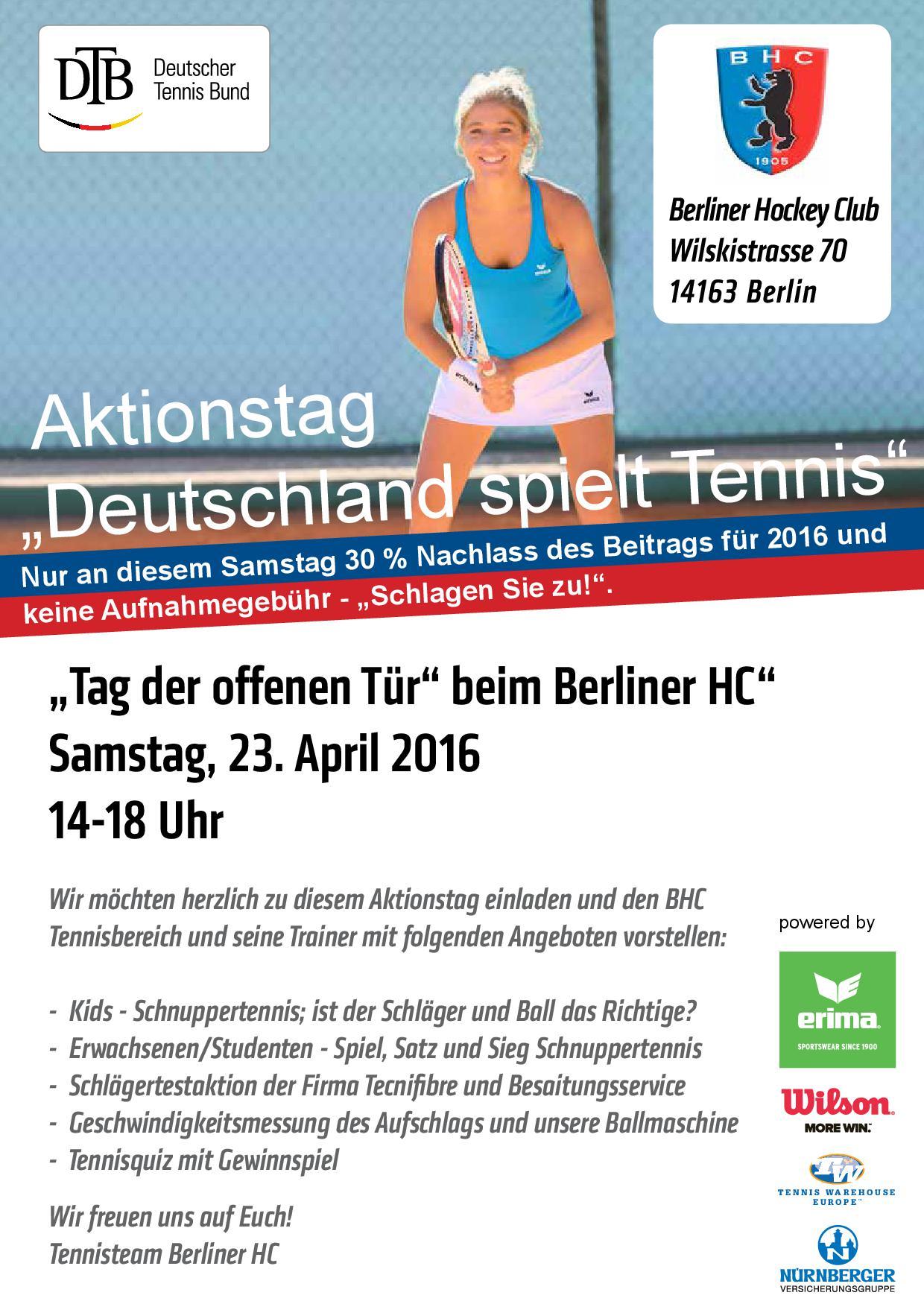 23. April 2016, 14 – 18 Uhr: Deutschland spielt Tennis im Berliner Hockey-Club