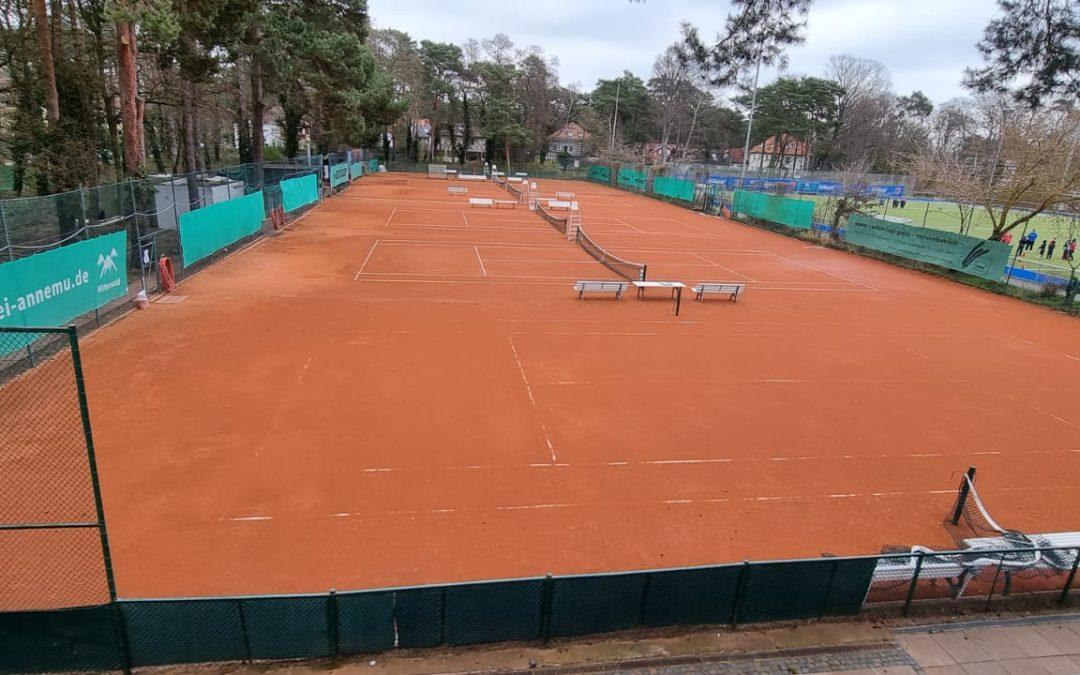 Tennisplätze sind ab heute 14.00Uhr wieder bespielbar